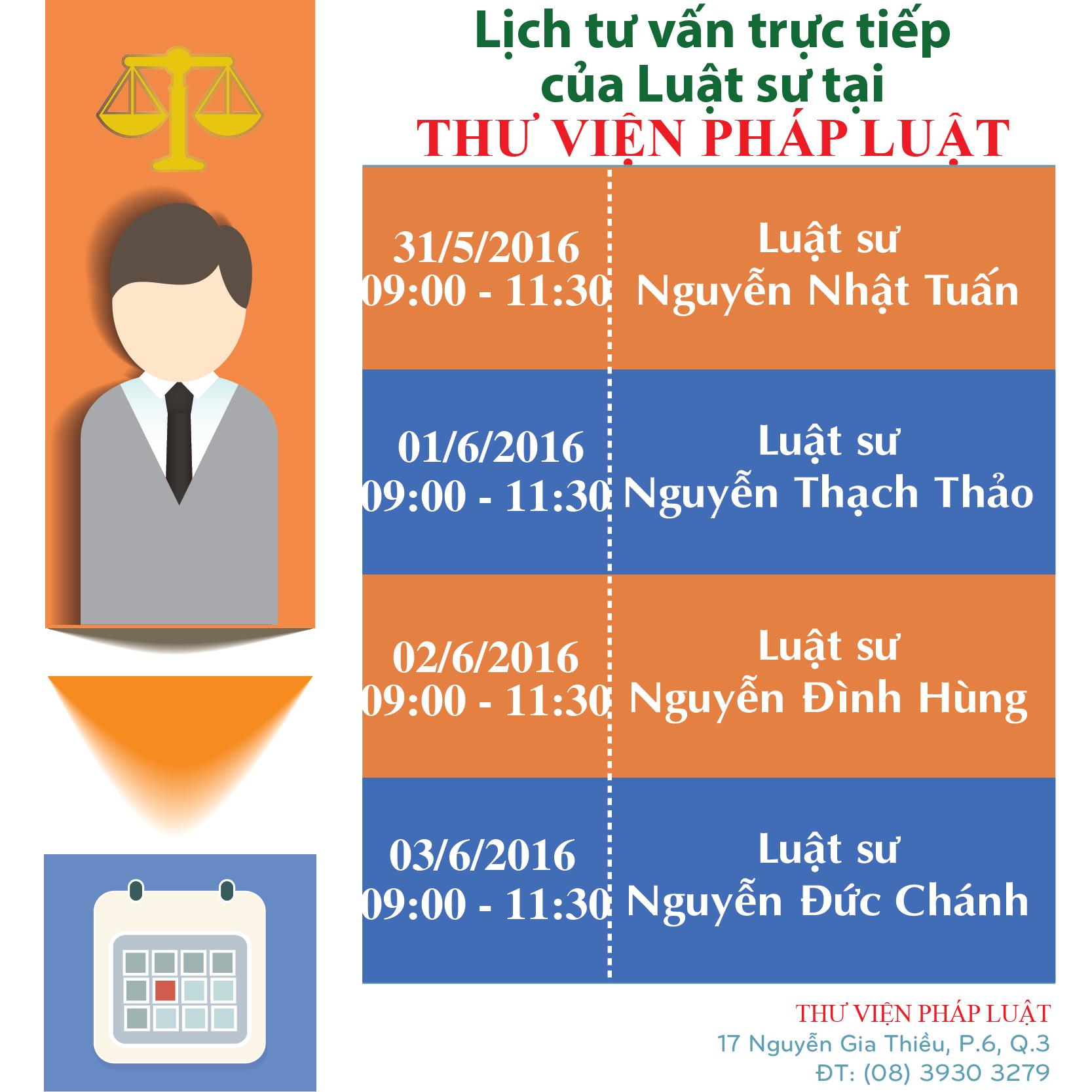 Lịch trực Luật sư tư vấn trực tiếp tại THƯ VIỆN PHÁP LUẬT:lich tu van thang tuan 1 thang 03-2015